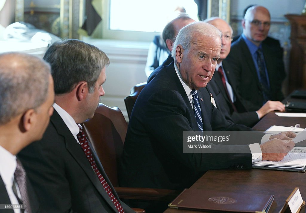 U.S. Vice President Joe Biden (R) makes brief remarks to the press after a meeting with Cabinet members and sportsmen's, wildlife and gun interest groups at the Eisenhower Executive Office Building January 10, 2013 in Washington, DC. U.S. President Barack Obama appointed Biden to oversee a task force on gun violence and also was to meet with a representative of National Rifle Association (NRA) in a second day of meetings.