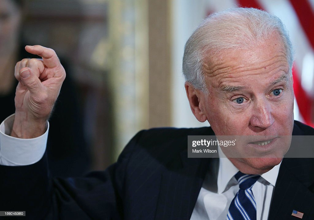 U.S. Vice President Joe Biden makes brief remarks to the press after a meeting with Cabinet members and sportsmen's, wildlife and gun interest groups at the Eisenhower Executive Office Building January 10, 2013 in Washington, DC. U.S. President Barack Obama appointed Biden to oversee a task force on gun violence and also was to meet with a representative of National Rifle Association (NRA) in a second day of meetings.