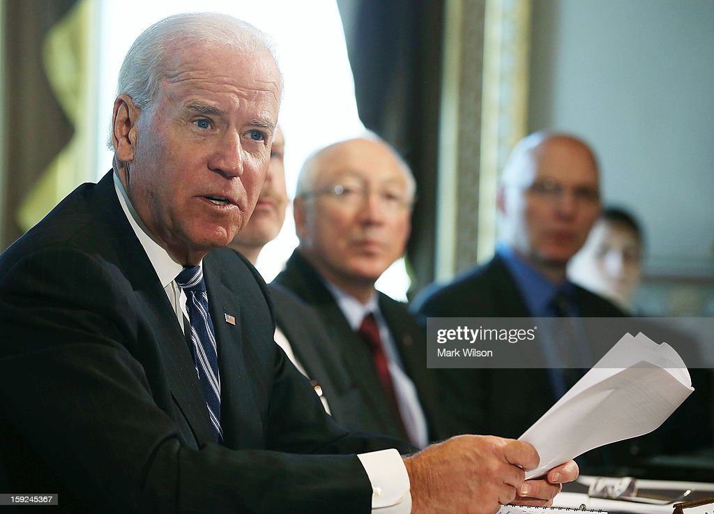 U.S. Vice President Joe Biden (L) makes brief remarks to the press after a meeting with Cabinet members and sportsmen's, wildlife and gun interest groups at the Eisenhower Executive Office Building January 10, 2013 in Washington, DC. U.S. President Barack Obama appointed Biden to oversee a task force on gun violence and also was to meet with a representative of National Rifle Association (NRA) in a second day of meetings.