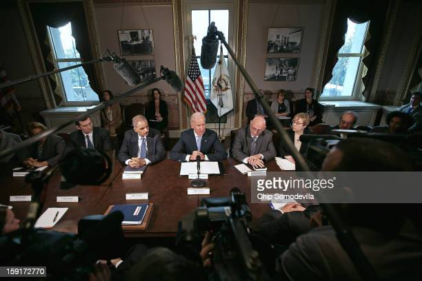 S Vice President Joe Biden makes brief remarks to the press at the beginning of a meeting with US Attorney General Eric Holder and gun violence...