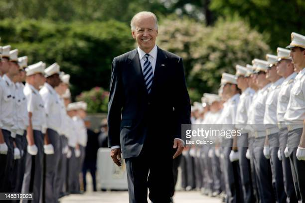 S Vice President Joe Biden makes his way down a row of cadets as he arrives to address to graduates of The United States Military Academy at West...