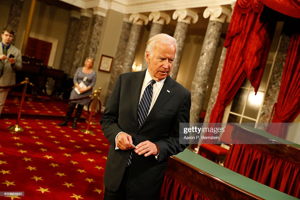 U.S. Vice President Joe Biden prepares for the ceremonial swearing in of senators in the Old Senate Chamber at the U.S. Capitol January 3, 2017 in Washington, DC. Earlier in the day Biden swore in the newly elected and returning members on the Senate floor.
