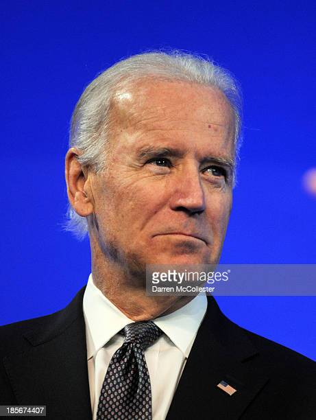 S Vice President Joe Biden prepares to speak at a mental health forum at the John F Kennedy Presidential Library and Museum October 23 2013 in Boston...