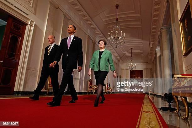Vice President Joe Biden, President Barack Obama and Solicitor General Elena Kagan walk into the East Room before Obama announced Kagan as his choice...