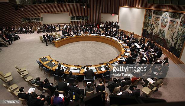 S Vice President Joe Biden presides over a highlevel United Nations Security Council meeting at UN headquarters December 15 2010 in New York City The...