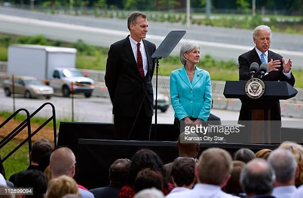 Vice President Joe Biden right with US Health and Human Services Secretary Kathleen Sebelius and Kansas Gov Mark Parkinson left attend the...
