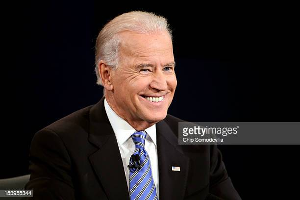 Vice President Joe Biden smiles during the vice presidential debate at Centre College October 11, 2012 in Danville, Kentucky. This is the second of...