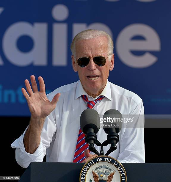 Vice President Joe Biden speak to supporters during a public campaign rally for Get Out The Early Vote for Democratic presidential nominee Hillary...