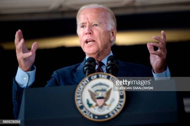 Vice President Joe Biden speaks about infrastructure at Amtrak's Joseph R. Biden, Jr., Railroad Station onAugust 26, 2016 in Wilmington, Delaware.