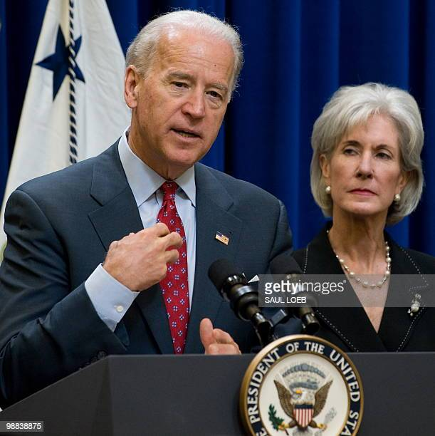 US Vice President Joe Biden speaks alongside Secretary of Health and Human Services Kathleen Sebelius as they announce $220 million in Recovery Act...