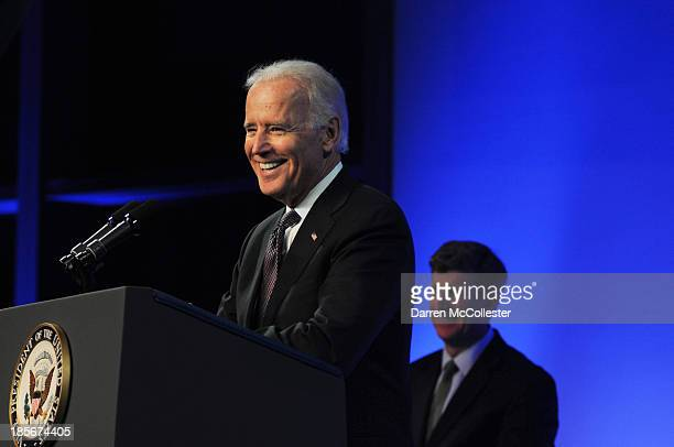 S Vice President Joe Biden speaks at a mental health forum at the John F Kennedy Presidential Library and Museum October 23 2013 in Boston...