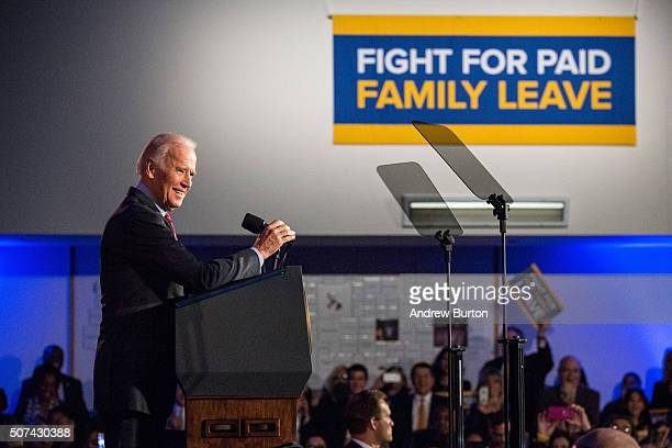 S Vice President Joe Biden speaks at a rally for paid family leave on January 29 2016 in New York City The rally was attended by many union workers...