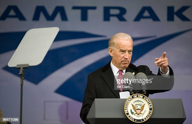 Vice President Joe Biden speaks at an event to announce funding for Amtrak as part of the American Recovery and Reinvestment Act at Union Station in...