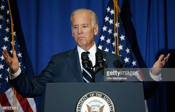 S Vice President Joe Biden speaks at George Washington University April 28 2014 in Washington DC Biden spoke about the Republican budget proposed by...