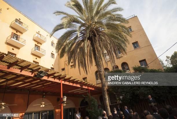 US Vice President Joe Biden speaks at Ledra palace in the UNpatrolled Buffer Zone in Nicosia on May 22 2014 Biden met Cyprus leaders Thursday to spur...