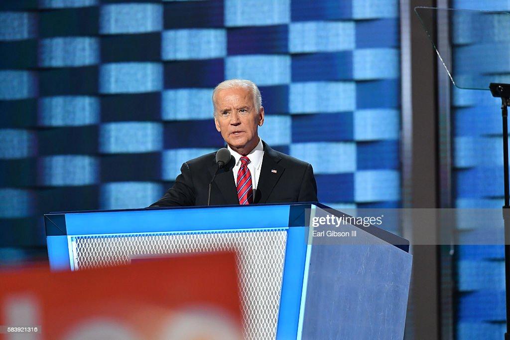 Vice President Joe Biden speaks at the 2016 Democratic National Convention-Day 3 at Wells Fargo Center on July 27, 2016 in Philadelphia, Pennsylvania.