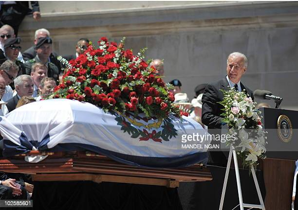 Vice President Joe Biden speaks at the memorial service for US Senator Robert Byrd on July 2, 2010 at the West Virginia State Capitol in Charleston,...
