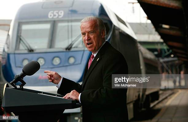 Vice President Joe Biden speaks at Union Station while announcing that Amtrak will receive $1.3 billion in grant funding from the recently enacted...