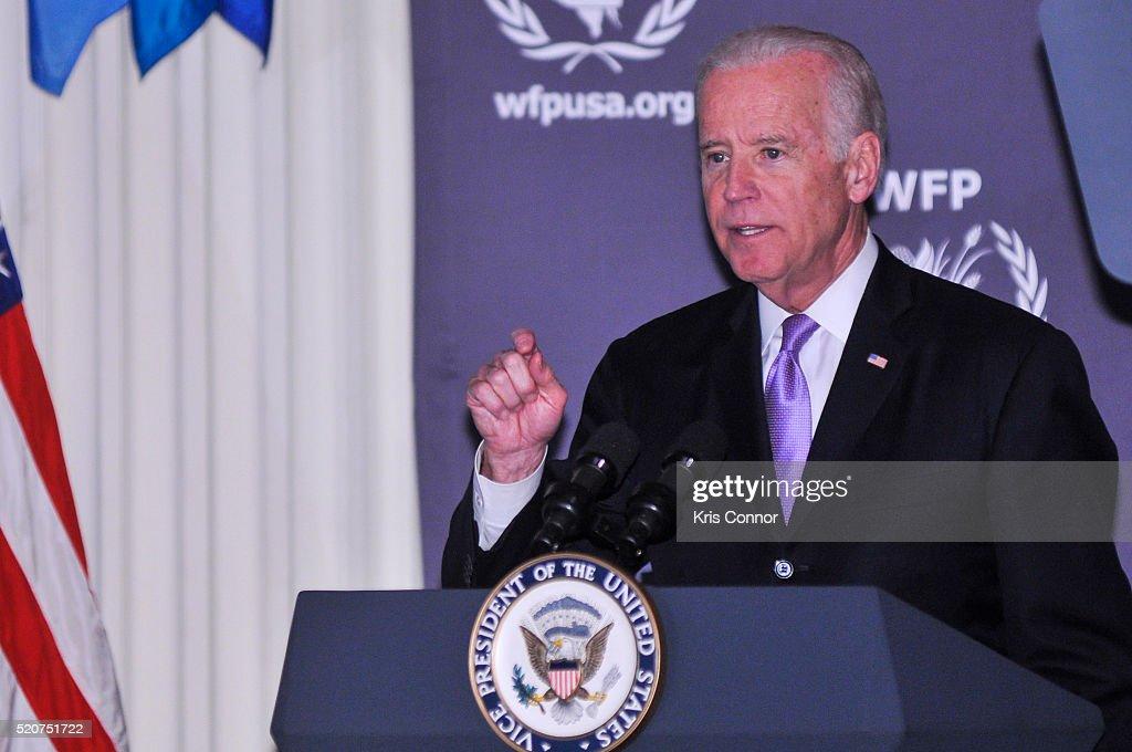 Vice President Joe Biden speaks before presenting an award to fashion designer Michael Kors during the World Food Program USA's 2016 McGovern-Dole Leadership Award Ceremony at the Organization of American States on April 12, 2016 in Washington, DC.