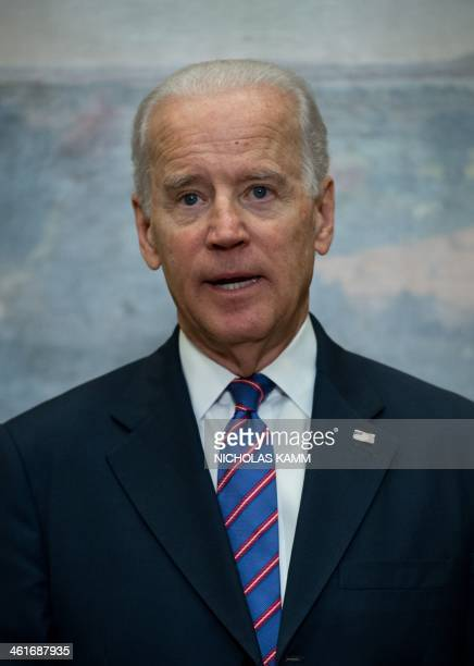 US Vice President Joe Biden speaks during a ceremonial swearingin ceremony for new Homeland Security Secretary Jeh Johnson in the Roosevelt Room at...
