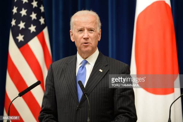 US Vice President Joe Biden speaks during a joint press conference with Japanese Prime Minister Shinzo Abe after their meeting at Abe's official...