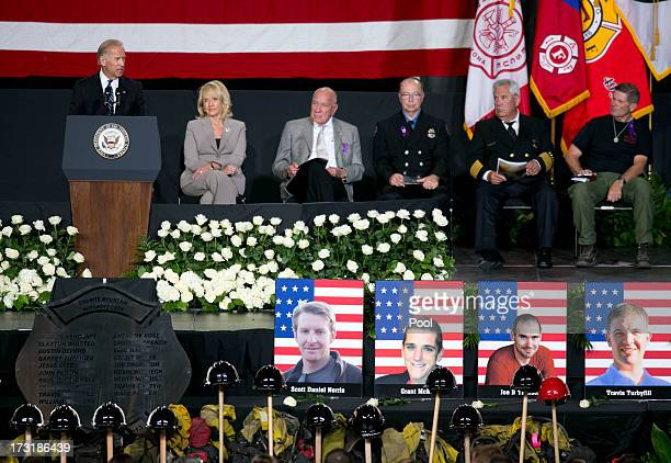 S Vice President Joe Biden speaks during a memorial service honoring 19 fallen firefighters at Tim's Toyota Center July 9 2013 in Prescott Valley...