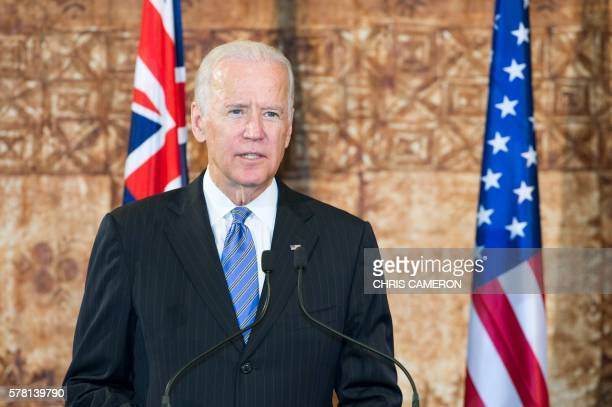 Vice President Joe Biden speaks during a press conference with New Zealand Prime Minister John Key after their bilateral meeting at Government House...