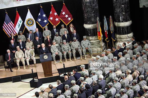 US Vice President Joe Biden speaks during the United States ForcesIraq change of command ceremony in Baghdad on September 1 as a new US military...