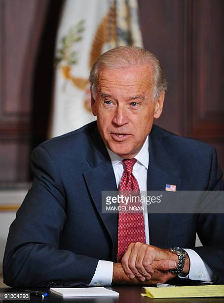 Vice President Joe Biden speaks on the Recovery Act and the economy during a cabinet meeting on Recovery Act Implementation October 1, 2009 in the...