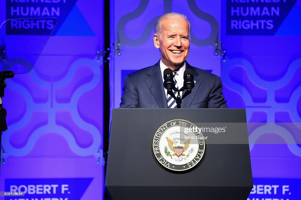 Vice President Joe Biden speaks onstage at RFK Human Rights' Ripple of Hope Awards Honoring VP Joe Biden, Howard Schultz & Scott Minerd in New York City.