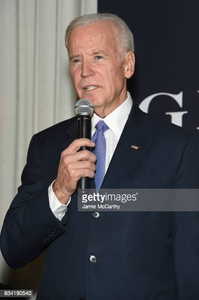 Vice President Joe Biden speaks onstage at the GILT and Ashley Biden celebration of the launch of exclusive Livelihood Collection at Spring Place on...