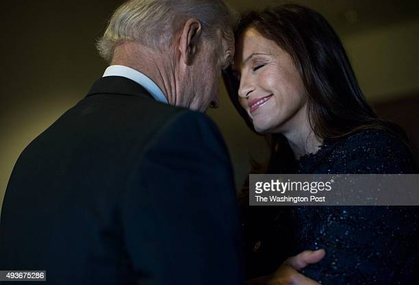 Vice President Joe Biden speaks to Mariska Hargitay actress from Law Order and advocate back stage before he speaks to an audience of lawmakers women...