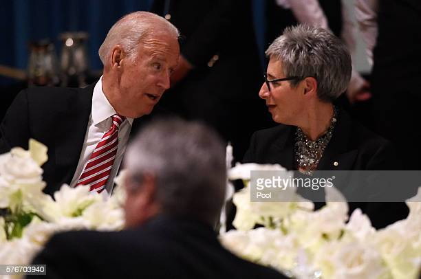 Vice President Joe Biden speaks to the Governor of Victoria Linda Dessau during a dinner at Government Houseon July 17 2016 in Melbourne Australia Mr...