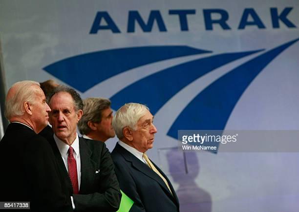 Vice President Joe Biden speaks with Sen. Ted Kaufman as Sen. Frank Lautenberg and Sen. John Kerry look on at Union Station during an event...