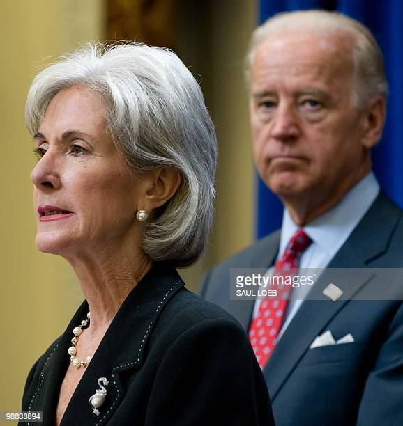 US Vice President Joe Biden stands alongside Secretary of Health and Human Services Kathleen Sebelius as they announce $220 million in Recovery Act...