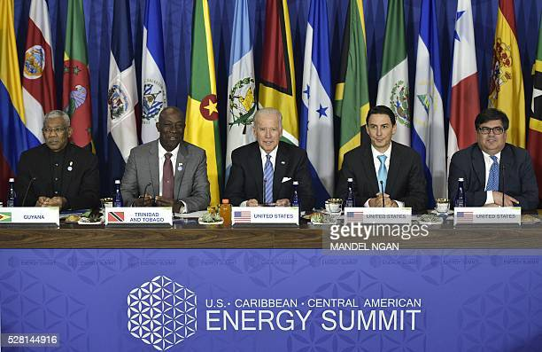 Vice President Joe Biden takes part in a meeting with Caribbean heads of delegations during the US, Caribbean, Central American Energy Summit at the...