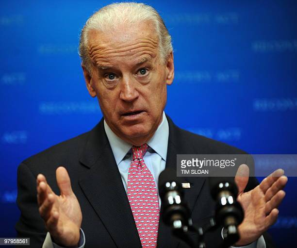 US Vice President Joe Biden talks about the Recovery Act on March 22 2010 at the Eisenhower Executive Office Building in Washington DC AFP PHOTO /...