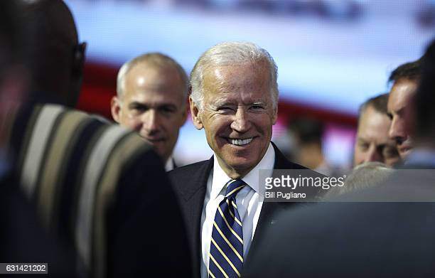 Vice President Joe Biden tours the General Motors exhibit at the 2017 North American International Auto Show on January 10 2017 in Detroit Michigan...