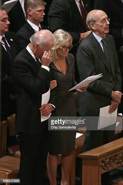 Vice President Joe Biden wipes his eyes while attending the funeral for former Washington Post executive editor Ben Bradlee with Biden's wife Dr Jill...