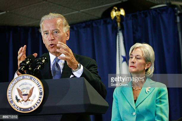 S Vice President Joe Biden with Health and Human Services Secretary Kathleen Sebelius speaks to health care professionals prior to a roundtable...