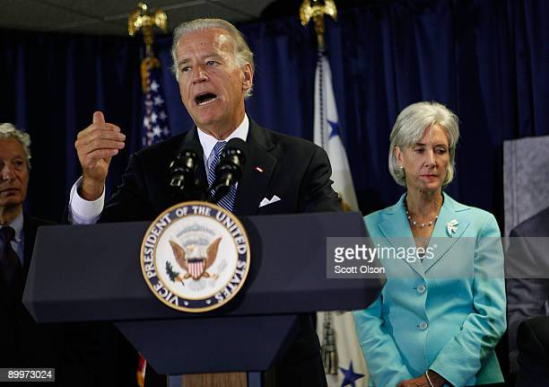 Vice President Joe Biden with Health and Human Services Secretary Kathleen Sebelius speaks to health care professionals prior to a roundtable...