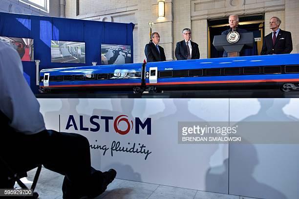 Vice President Joe R. Biden speaks at Amtrak's Joseph R. Biden, Jr,. Railroad Station on August 26, 2016 in Wilmington, Delaware. Amtrak on Friday...