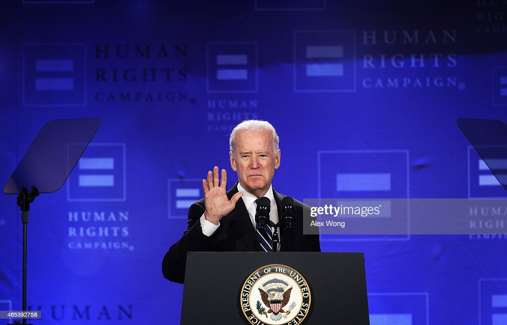 Biden Addresses Human Rights Campaign Spring Equality Convention : News Photo