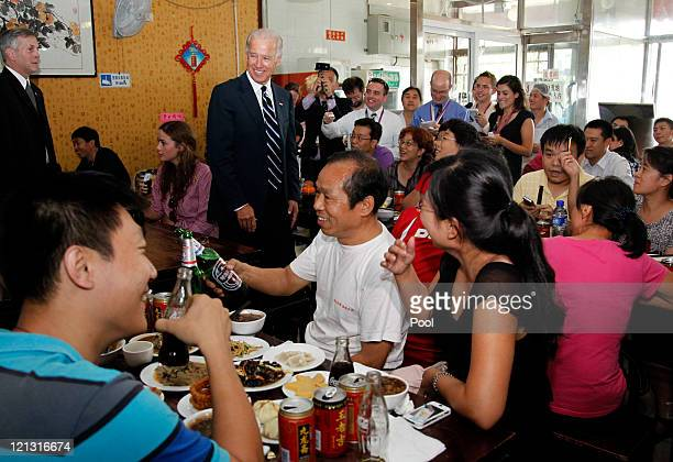 S Vice President Joseph Biden and granddaughter Naomi Biden at a local restaurant on August 18 2011 in Beijing China Biden will visit China Mongolia...