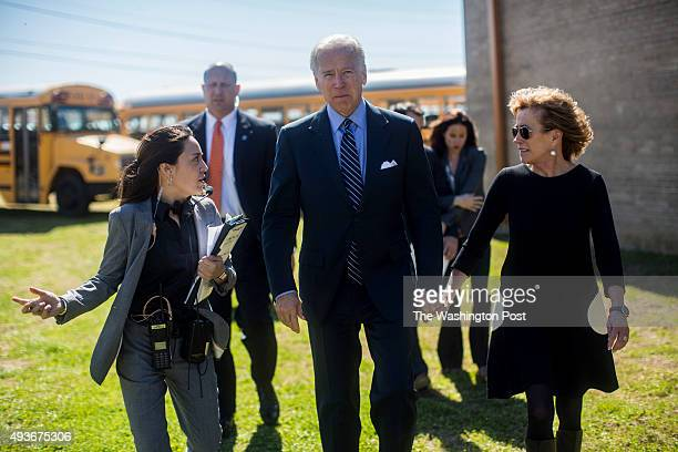 Vice President Joseph Biden and his sister Valerie Biden Owens are briefed by staffer Liz Hart before entering a civil rights leaders luncheon in...