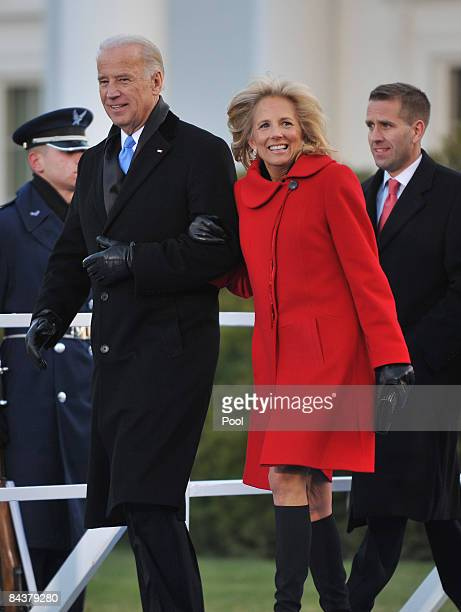 Vice President Joseph Biden and his wife, Jill Biden walk across the North Lawn of the White House to the reviewing stand for the Inaugural Parade...