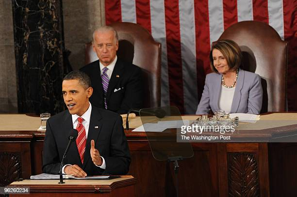 Vice President Joseph Biden and House Speaker Nancy Pelosi behind President Barack Obama during his State of the Union address to a Joint Session of...