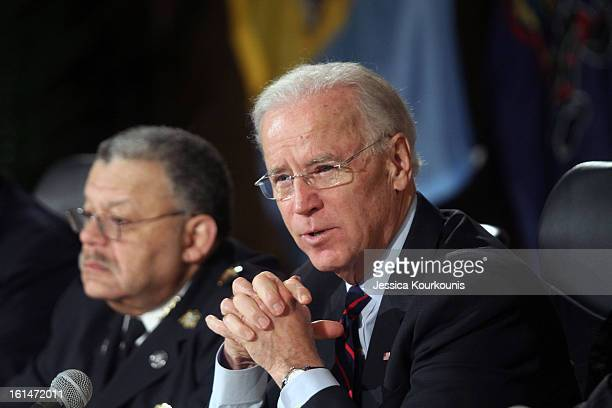 S Vice President Joseph Biden delivers remarks following a roundtable discussion with law enforcement officials to discuss gun safety on February 11...