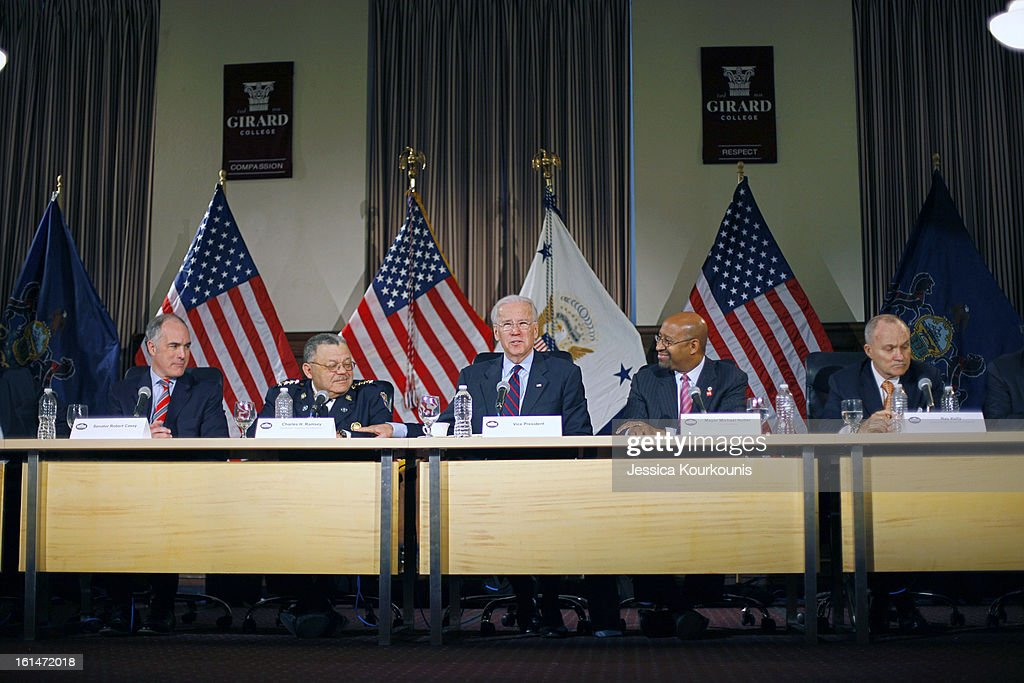 U.S. Vice President Joseph Biden (C) delivers remarks following a roundtable discussion with law enforcement officials to discuss gun safety on February 11, 2013 at Girard College in Philadelphia, Pennsylvania. The round table included, from left, Sen. Bob Casey (D-PA), Philadelphia Police Commissioner Charles Ramsey, Vice President Joe Biden, Philadelphia Mayor Michael Nutter, and New York City Police Commissioner Ray Kelly. President Barack Obama's administration is pushing for new gun control measures in the wake of the school shooting in Newtown, Connecticut.