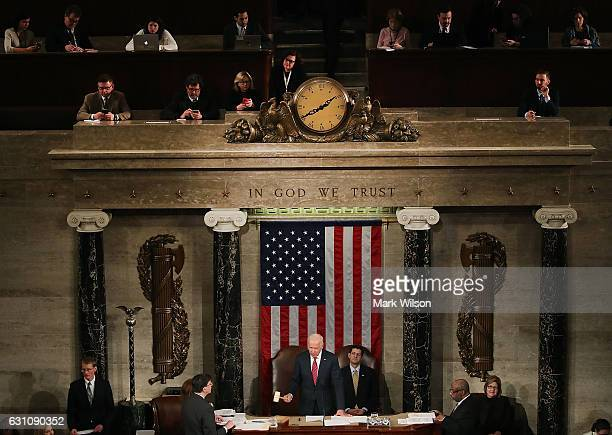 S Vice President Joseph Biden presides over the counting of the electoral votes from the 2016 presidential election during a joint session of...